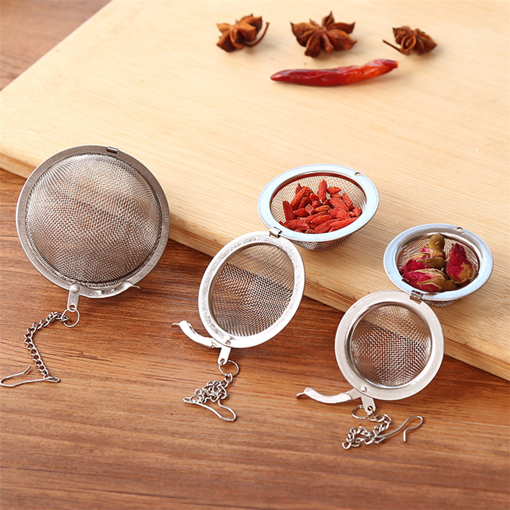 1pc New Stainless Steel Tea Ball Infuser Leaf Mesh Filter Seasoning Ball Strainer Herbal Spice Home Kitchen Accessories 3 Sizes