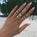 ZHINI 9Pcs/set Bohomia Gold Ring for Women Vintage Snake Shape Zircon Adjustable Ring 2019 Gothic Jewelry Gift anillos mujer