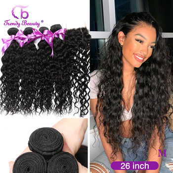 Brazilian Water Wave 4 Bundles With 4*4 Inches Lace Closure Middle/Free/Three Human Hair Weaves Can Be Dyed Non-remy 5pcs - DISCOUNT ITEM  58 OFF Hair Extensions & Wigs