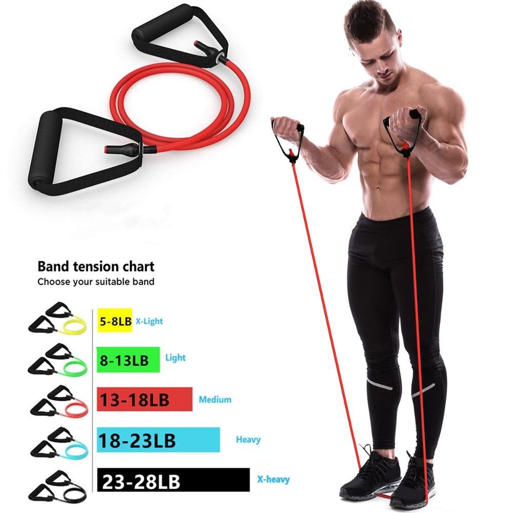 Эластичные ленты с ручками для йоги, 5 уровней сопротивления, тянущийся фитнес-браслет для тренировок в домашних условиях