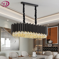 Youlaike new modern chandelier lighting for dining room rectangle kitchen island black crystal lights home decoration hang lamp