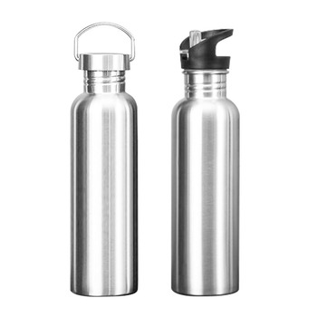 Stainless Steel Sports Water Bottle with Drinking Straw lids Cap Vacuum Flask Single Wall Hot Cold Water Bottle 500/750/1000ml 3