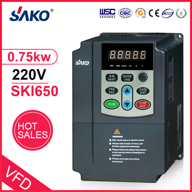 SAKO DC Input <font><b>220V</b></font> 0.75KW AC Triple (<font><b>3</b></font>) <font><b>Phase</b></font> Output 1HP Photovoltaic Solar Pool Water Pump <font><b>Inverter</b></font> Converter image