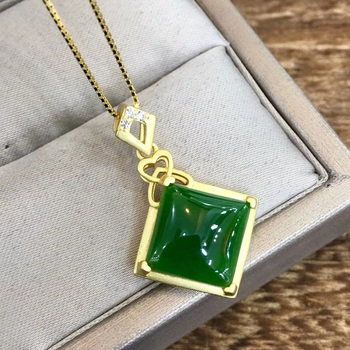 Jadery 925 Sterling Silver Jade Necklaces For Women Geometric Emerald Jasper Gemstones Necklace Lady Luxury Jewelry Gifts 2020