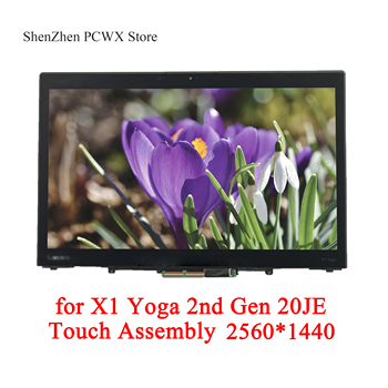 for X1 Yoga 2nd Gen 20JE QHD 2560*1440 40pins 14.0 Touch LCD ASSEMBLIES W/Bezel ThinkPad Laptop SB30M90388 PN 01LV978 ST50G58800