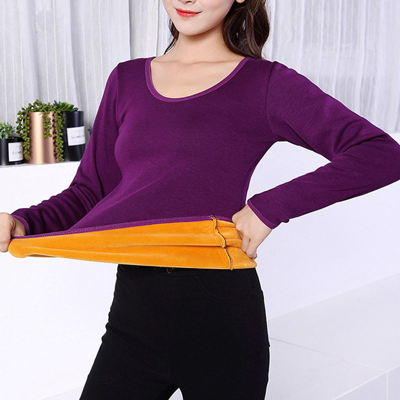 2XL Long Sleeve Single Layer Velvet Thermal Clothing For Women Winter Underwear O-Neck Basic For Thermos Tops Female Second Skin