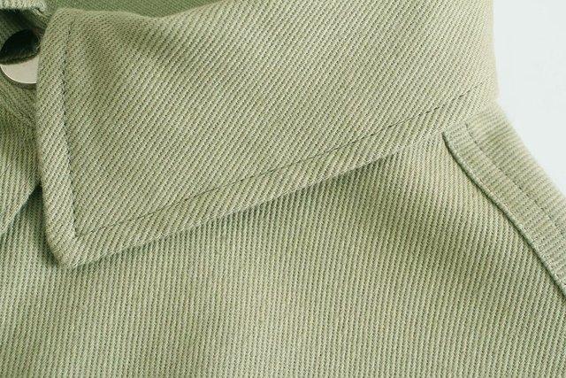 Toppies Green Cotton Shirt Jacket Button Down Loose Coat Women Long Sleeve Pockets Jacket Streetwear 4