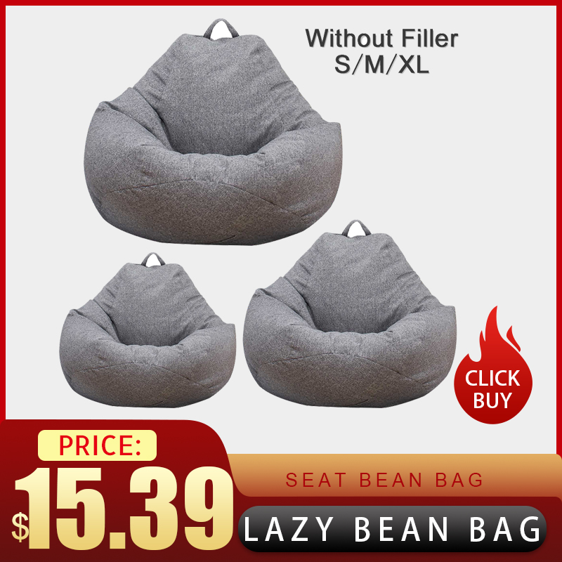 Lazy Bean Bag Chair Cover Without Filler Linen Cloth Lounger Seat Bean Bag Pouf Puff Couch Tatami Living Room Large Small  Sofas