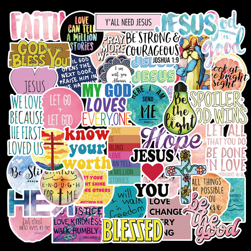 50 Packs Jesus Christian Faith Quotes Stickers Trolley Case, Laptop, Guitar, Cup Diy Waterproof Sticker