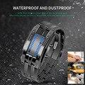 Новая Мода Tide черный золотой Стальной сплав стальной ремешок часы без указателя для мужчин и женщин водонепроницаемые светодиодные электр...