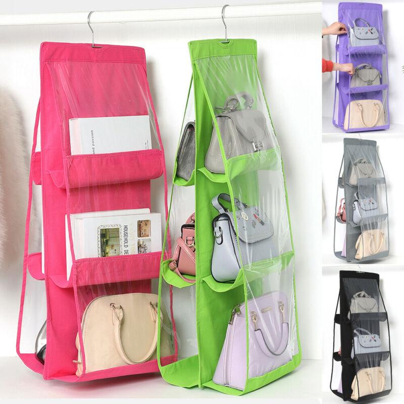 Hanging Storage Bag 6/8 Pocket Purse Handbag Tote Bag Storage Double Sides Foldable Storage Bag Wardrobe Organizer Closet Hanger