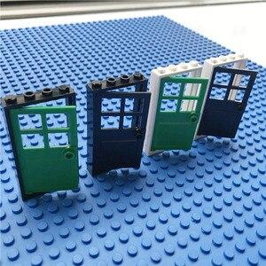 Городской дом аксессуары для дверей строительные блоки креативные детали для дома прозрачные стеклянные окна двери MOC кирпич друзья игрушки Дети