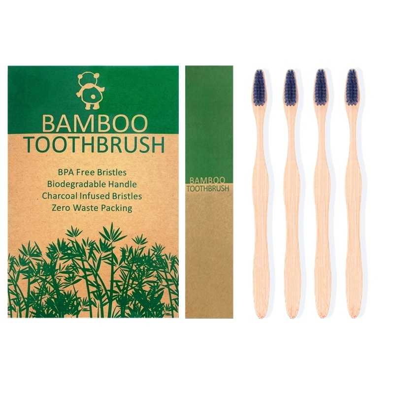 Zero waste travel toothbrush Eco friendly bristle toothbrush Natural Biodegradable Bamboo Toothbrushes image