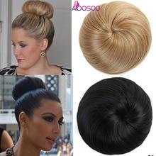 AOOSOO, 9 цветов, для девочек, коричневый, блондин, пучок волос, шиньон, синтетический пончик, Роликовые шиньоны, высокотемпературное волокно для женщин