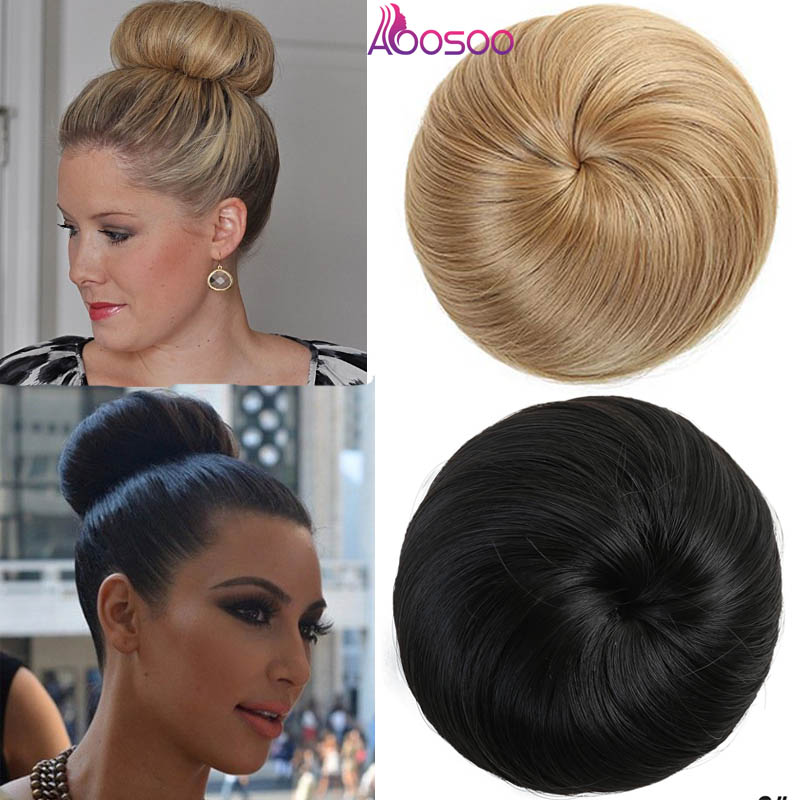 AOOSOO  9 Colors Girls Brown Blonde Bun Hair Chignon Synthetic Donut Roller Hairpieces High Temperature Fiber For Women