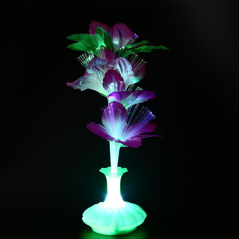Светодиодный ная Цветочная ваза Kapok из оптического волокна, Цветная декоративная цветная лампа
