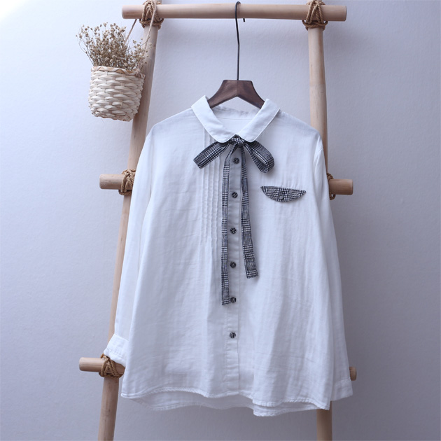 England plaid bow sash Peter pan collar long sleeve cotton yarn white shirt blouse female vintage brief