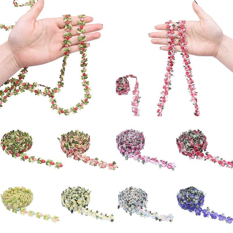 2 metre yeni pamuklu dantel süs şerit dikiş DIY işlemeli çiçek renk giysi Cheongsam masa örtüsü dikiş kumaş