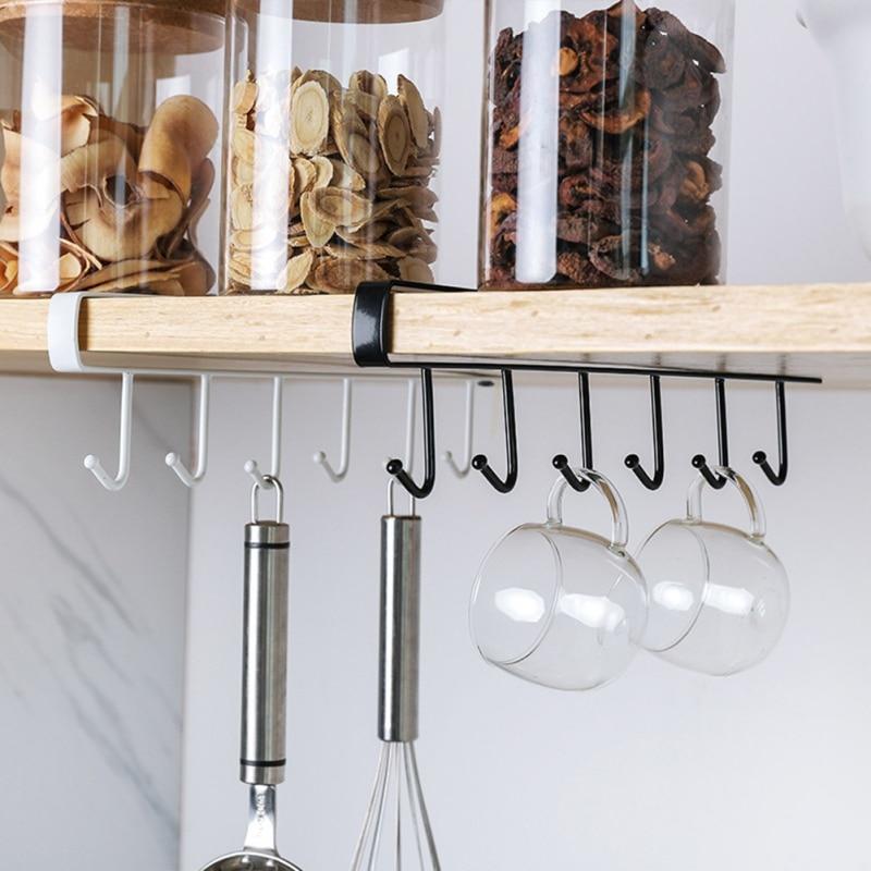 6 Hooks Kitchen Cup Holder Hang Wardrobe Cabinet Under Shelf Storage Rack Organiser Hanging Hook Bathroom Storage Accessories