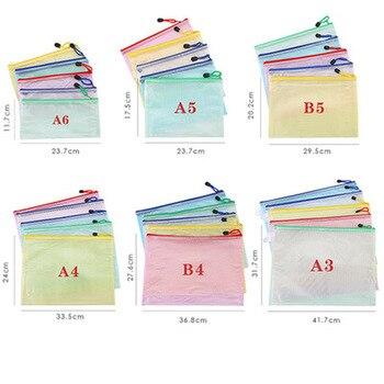 Stationery Storage Folder File Folder Waterproof Zipper File Organizer Folders Pvc Bag Portfolio Paper Storage Office Organizers