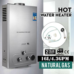 16L LNG Natural Gas Tankless Hot Water Heater Instant On Demand Whole House 4.3 GPM
