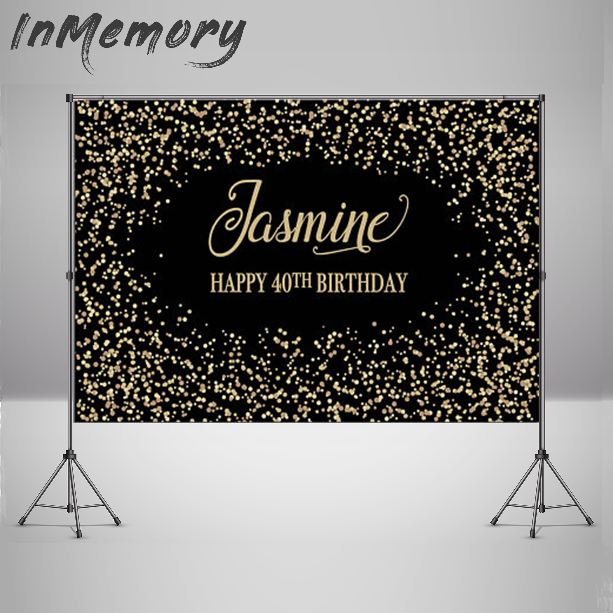 Vinyl Golden Glitters Photography Backgrounds Photo Studio Custom Black <font><b>40th</b></font> <font><b>Birthday</b></font> <font><b>Backdrops</b></font> Banners 220x150cm image