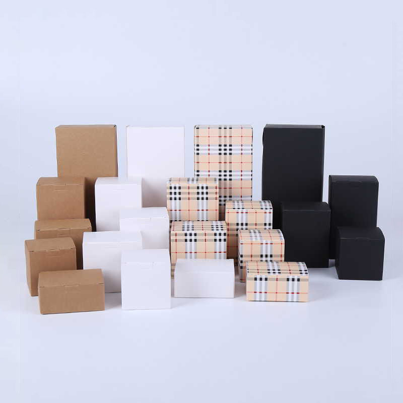 10Pcs Brown/White/Black Blank Paper Box For Cosmetic Packing Box, 20sizes Beige Lattice Crafts Candle Gift Packaging Boxes