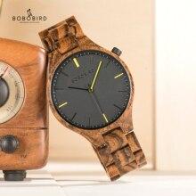 BOBOBIRD montre homme 2020 Uhren Herren Holz Zeitmesser Armbanduhr mit Geschenk Holz Box Dropshipping V S27