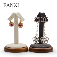Oirlv Solid Wood Earring Display Holder Ear Stud Display Shelft Round Jewelry Organizer Stand for Showcase