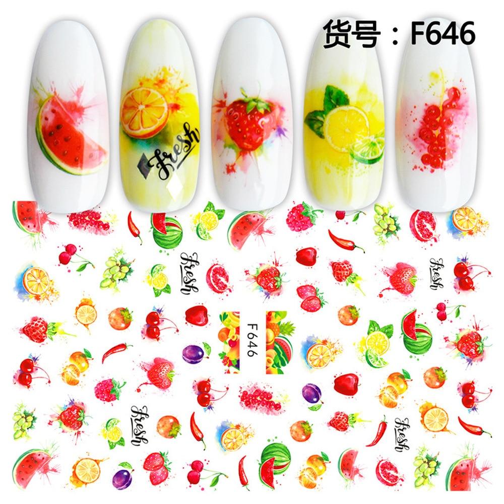 Летние клейкие слайдеры, наклейки с фруктами и листьями для ногтей, арбуз, лимон, дизайн клубника, аксессуары для маникюра