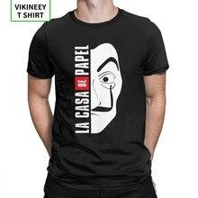 Camiseta De La Casa De máscara De Papel para hombre, 100% De algodón Vintage De La Casa De Papel, Camiseta De cuello redondo, Tops De talla grande