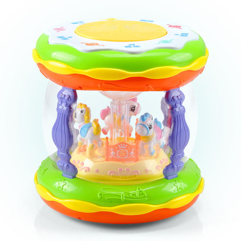 Douyin Baby Music Drum With Microphone Early Childhood Music Merry-go-round Children'S Educational Toy Hand Drum