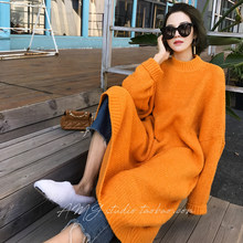 Women Winter Long Thick Maxi Sweater Dress Knitted Pullover Jumper Vestidos Casual Robe Pull Femme Orange Jurken Jurk Sukienki(China)