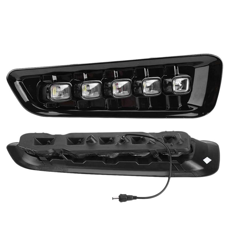 Daytime Running Lights, 5-Light White/Amber LED Daytime Running Light DRL Turn Signal Dual Model DRL for Ford F150 Raptor 2016-2