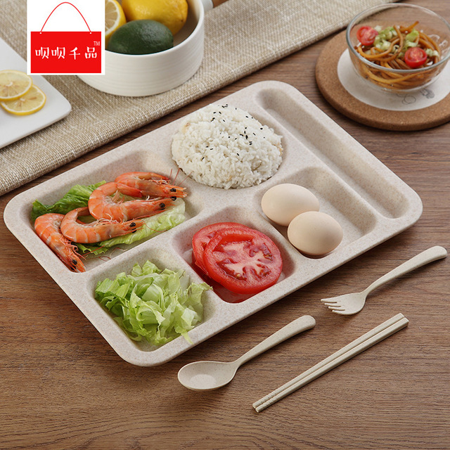 Plastic Divided Plate For Children and Separate Dinnerware Set Fork Spoon