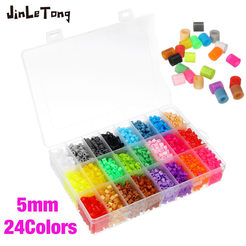 24 Colors 4000pcs 5mm Hama Beads For Kids Iron Fuse Beads Diy Puzzles High Quality Gift Children Toy Model Building Kit(China)