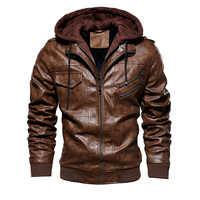 Jaquetas de couro dos homens 2020 inverno casual com capuz quente motocicleta jaqueta de couro do plutônio casaco masculino outerwear couro 4xl