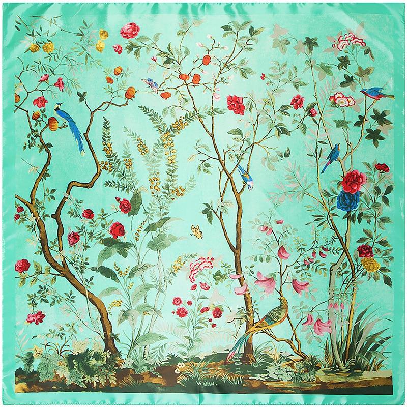 Women Silk Square Scarf 90*90cm Luxury Brand Green Tree Shawls Femme Foulard Bandanas Flower Pattern Women's Scarves