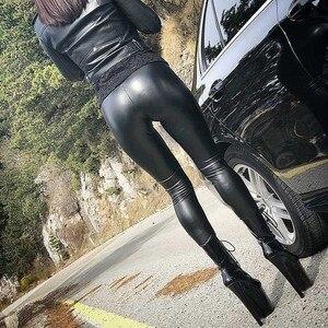 Image 3 - NORMOV siyah yaz PU deri pantolon kadınlar yüksek bel Skinny Push Up tayt seksi elastik pantolon streç artı boyutu pantolon
