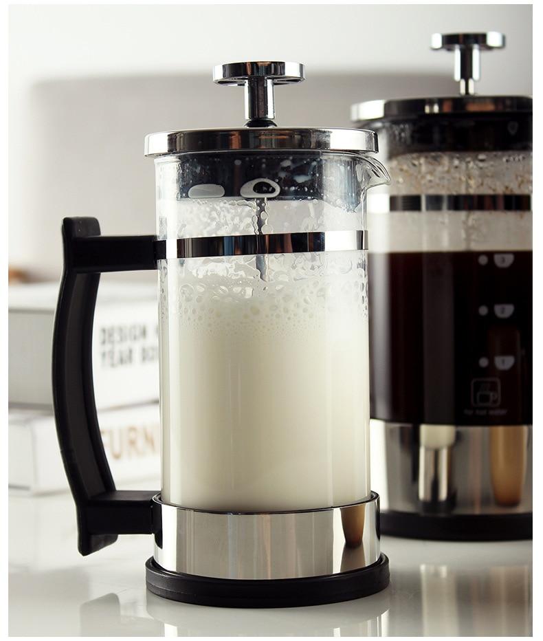 Tetera transparente de 350 ml espuma de leche y t/é perfumado tetera cafetera /émbolo para preparar caf/é filtro franc/és cafetera de vidrio de acero inoxidable