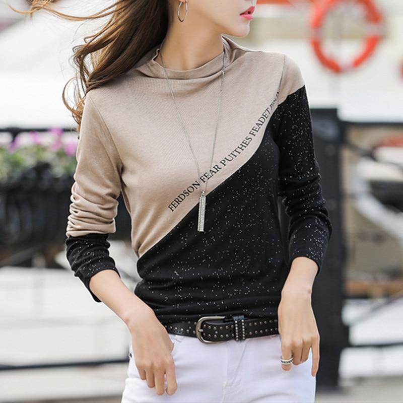 Spring 2020 Color Block Patchwork T-shirt Women Half Turtleneck Diamonds Shiny Long Sleeve Tops Tee Cotton T9D009Y