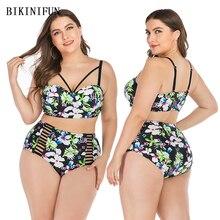 New Sexy Plus Size Swimsuit White Floral Bikini Women Hollow Braided Bathing Suit L-4XL Girl High Waist Swimwear Bikini Set braided strap detail floral bikini set