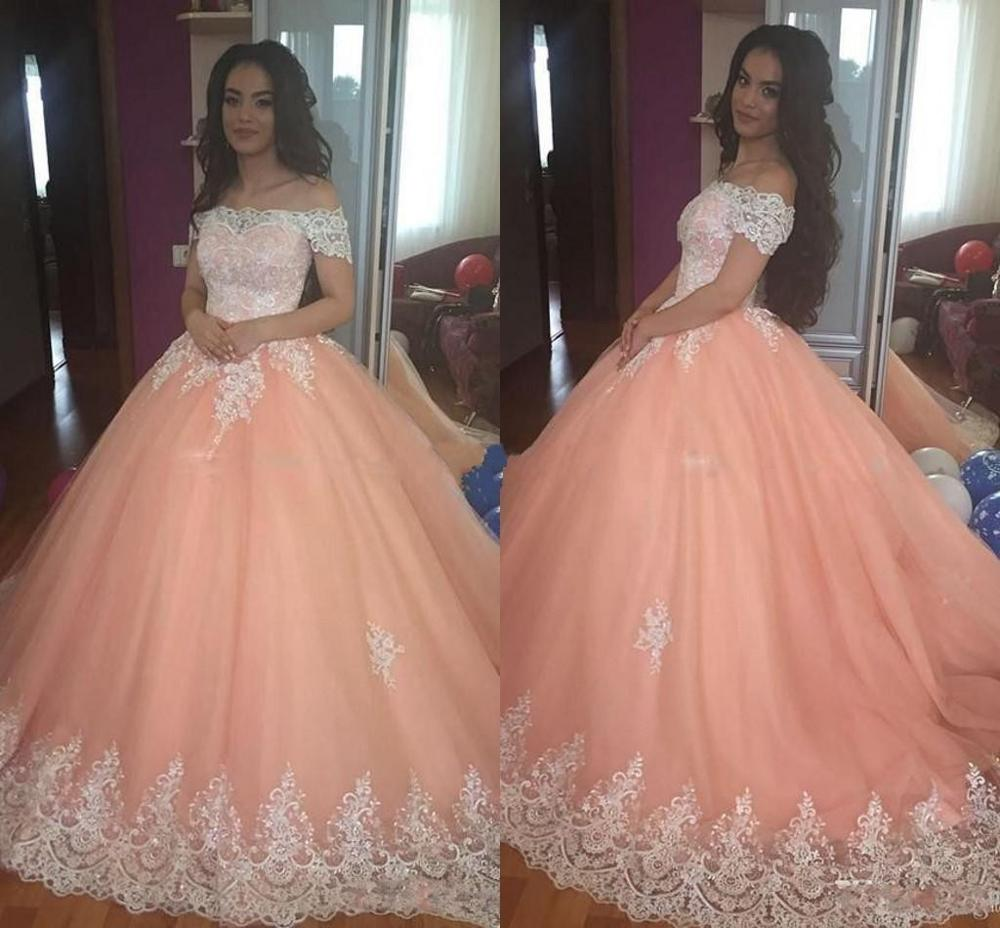Vintage Peach Ball Gown Quinceanera Dresses Sweet 16 Princess Off Shoulder Appliques Puffy Corset Back Vestidos Party Dress