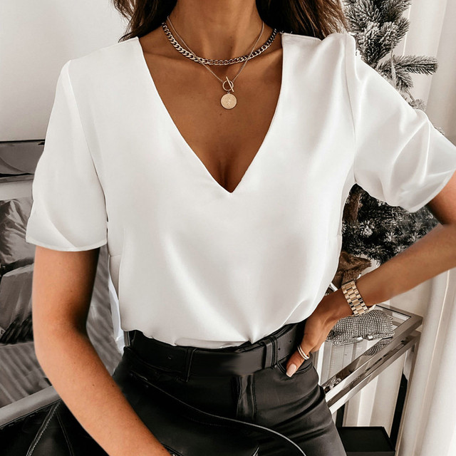#S0 F# Women Solid Elegant Blouse V-neck Short Sleeve Elegant Office Lady Slim Sexy Casual Blouses Tops Temperament Shirts Кофта 2