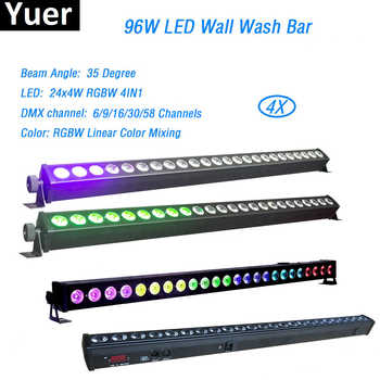 4Pcs/Lot 24x4W LED RGBW 4in1 Led Wall Wash Light 3/6/24/28 Channels DMX512 Led Bar Wash Stage Light Music DJ Disco Party Wedding - DISCOUNT ITEM  10% OFF All Category