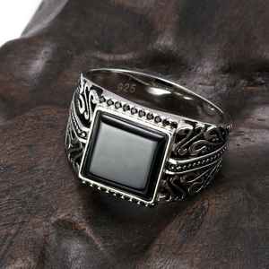 Image 2 - 925 Sterling Silver Rings Mens Rings Vintage Flower Engraved Black Green Red Natural Onyx Stone Square Shape Punk Turkey Jewelry