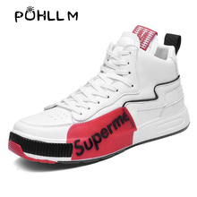PUHLLM Mens Shoes  tide shoes 2019 autumn new breathable high-top men Korean version of the wild red casual shoesG18