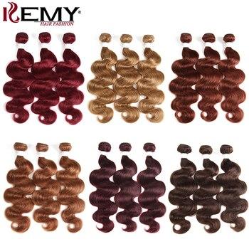 Body Wave Human Hair Bundles 8-26 Inch Red Blonde Brown Brazilian Hair Weave Bundles KEMY HAIR 3/4 PCS Non-Remy Hair Extension