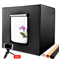 Dimmable Photo Studio Lighting 80*80cm Light box Prefessional Photography Backdrop Shooting Tent kit Photo Box with mini tripod