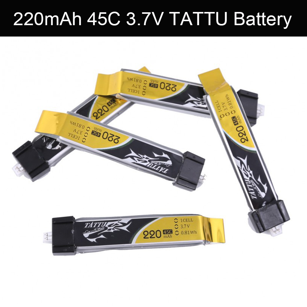 5Pcs TATTU LiPO Battery 220mAh 45C 3.7V Lithium Battery for Tiny Whoop FPV with Eflite Connector Frame RC Drone Hexacopter